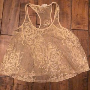 Sheer Gold and Sparkly Razor Back Top